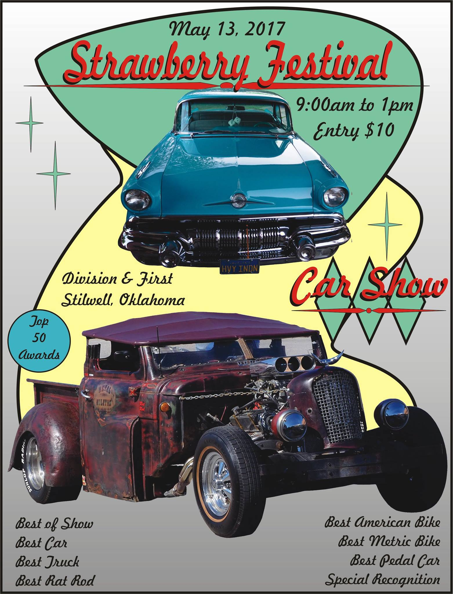 oklahoma area car shows and events listing we list oklahoma area awards for best of show best car best truck best rat rod best american bike best metric bike best pedal car and special recognition entry fee 10