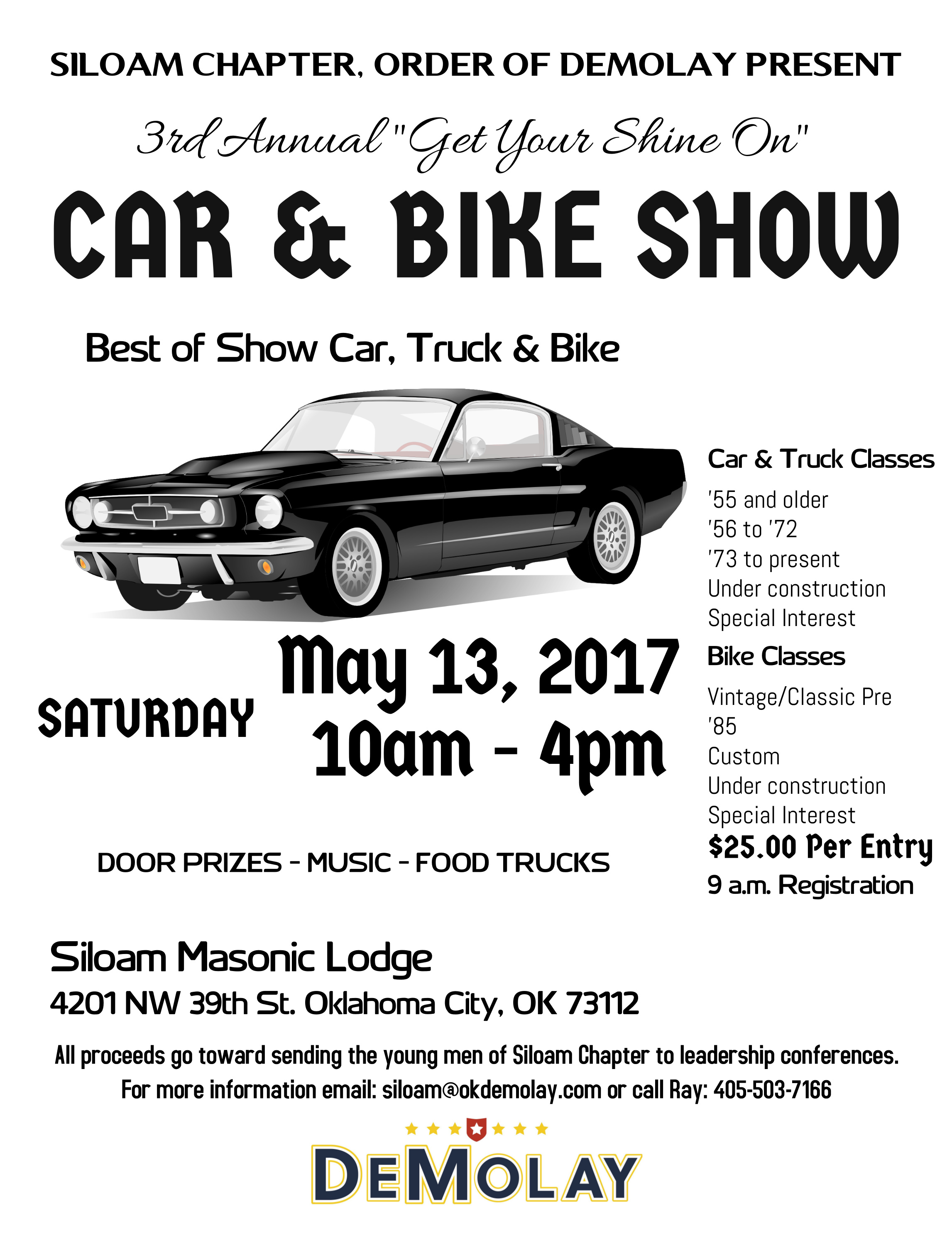 oklahoma area car shows and events listing we list oklahoma area 13th oklahoma city ok 3rd annual get your shine on car bike show 10am to 4 pm at siloam masonic lodge 4201 nw 39th st