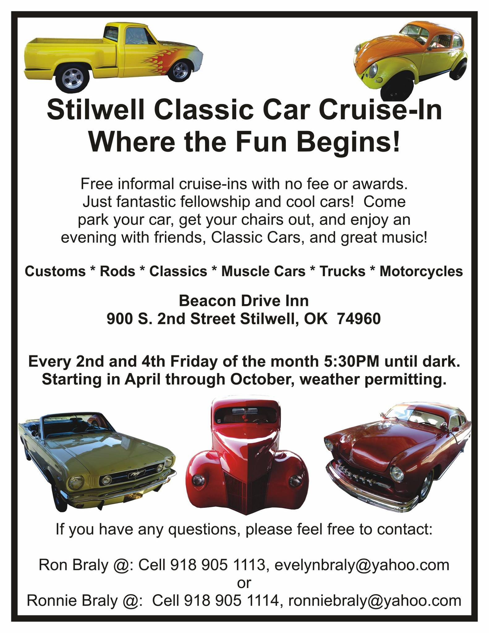 oklahoma area car shows and events listing we list oklahoma area stilwell ok every 2nd 4th friday 5 30 until dark at beacon drive inn 900 s 2nd street contact 918 905 1113
